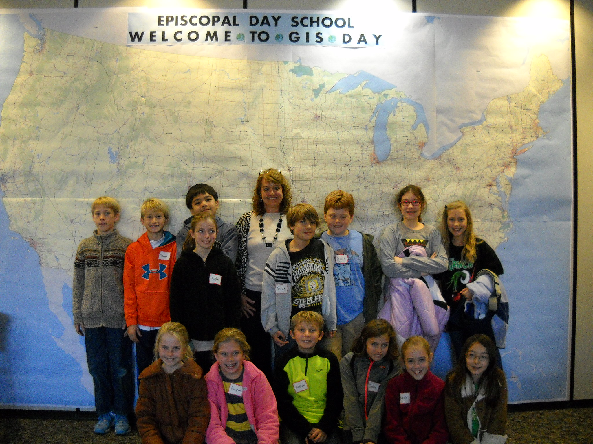 Episcopal Day School students participating in GIS Day at the library